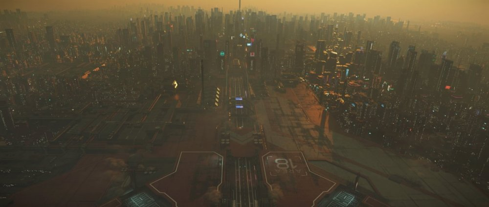 Star Citzien 3.5 - ArcCorp, Area 18 Landing Zone. No-Fly Zone.