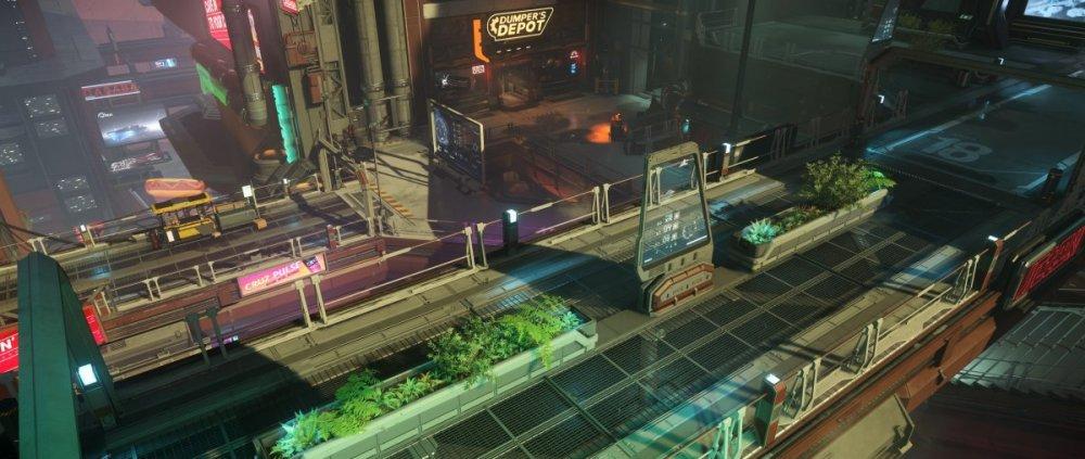Star Citzien 3.5 - ArcCorp, Area 18. Miasto w widoku pieszym.