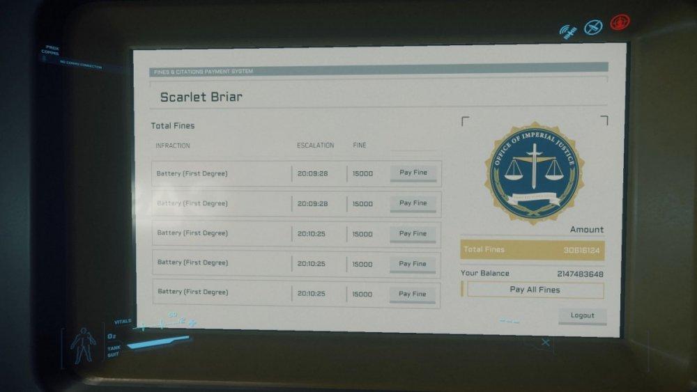 Star Citizen 3.8 - Grzywny, fines terminal